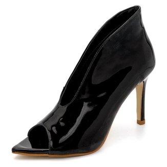 Sapato Scarpin Abotinado Salto Alto Fino Em Napa Verniz