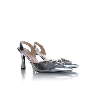 Sapato Scarpin Cinderela Salto Taça Metalizado Az