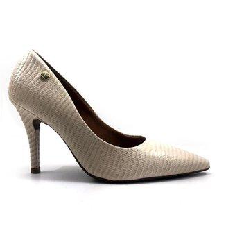 Sapato Scarpin Vizzano Salto Alto Bico Fino Lezard Feminino