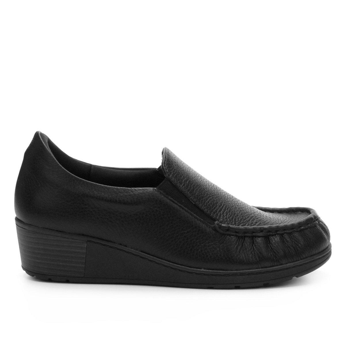 Preto On Sapato Feminino Médio Couro Sapato Slip Usaflex Slip Salto qazatZR