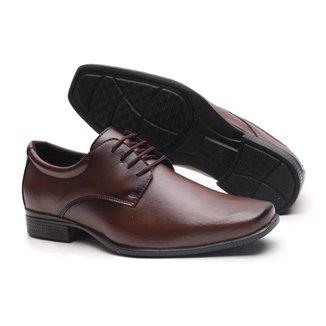 Sapato Social Amarrar Miletto em Material Tecnológico - Capucino