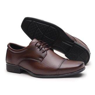 Sapato Social Amarrar Miletto em Material Tecnológico - Preto Brilhoso