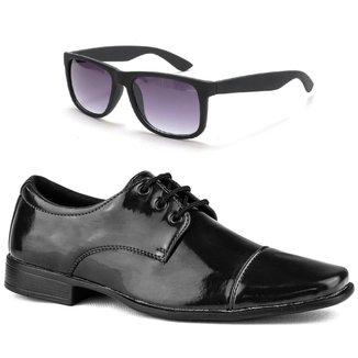 Sapato Social Amarrar Verniz Form's + Óculos Masculino