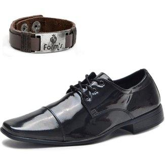 Sapato Social Amarrar Verniz Form's + Pulseira Masculino