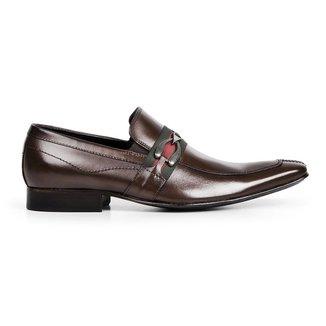 Sapato Social Bigioni Com Fivela Bico Alongado Couro Legítimo Masculino