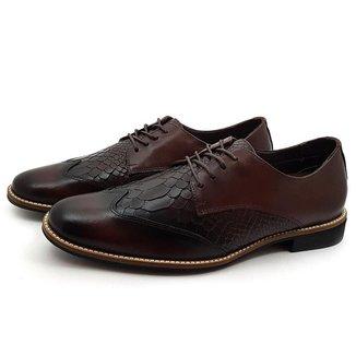 Sapato Social Brogue Couro Avalon Demeter Opções de Cores