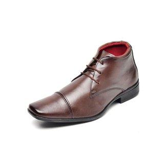 Sapato Social Cano Alto Masculino Bico Quadrado com Pesponto Aparente