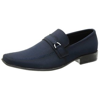 Sapato Social Casual Masculino Azul Bico Quadrado Estilo Ingles 1103