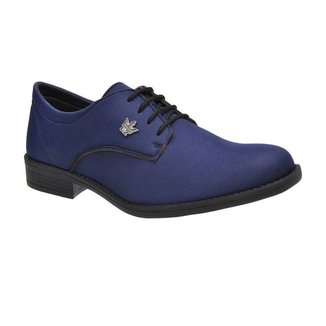 Sapato Social Casual Masculino Oxford Azul