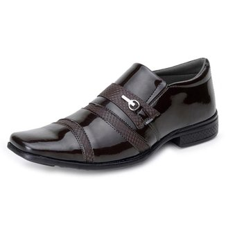 Sapato Social Casual Masculino Verniz e Detalhe Recorte