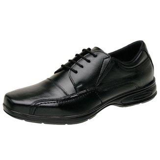 Sapato Social Confort Masculino Derradeiros Couro Preto