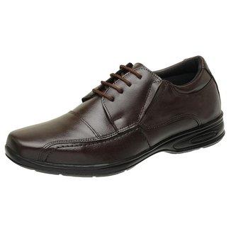 Sapato Social Confort Roma Shoes em Couro com Cadarço Antiderrapante