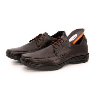 Sapato Social Conforto Cadarço em Couro Masculino
