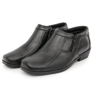 Sapato Social Conforto Masculino em Couro Bico Quadrado Zíper Lateral