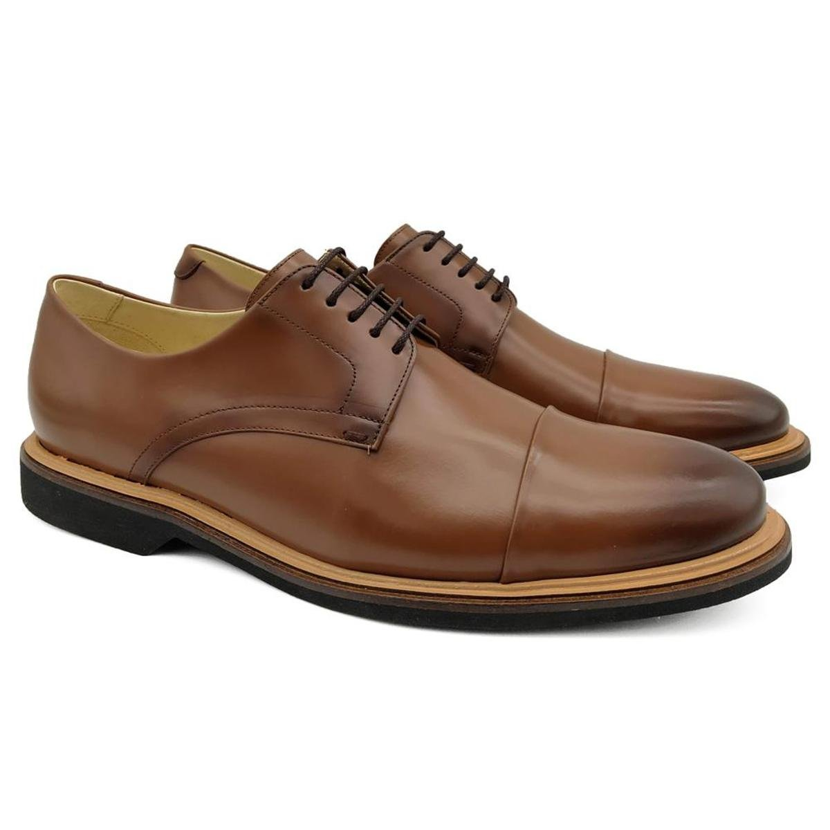 1d947dde7 Sapato Social Couro Adolfo Turrion Masculino Liso - Marrom Claro - Compre  Agora