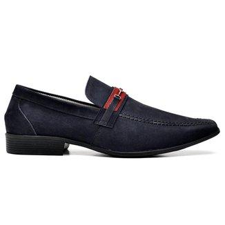 Sapato Social Couro Azul Marinho Nobuck 3041