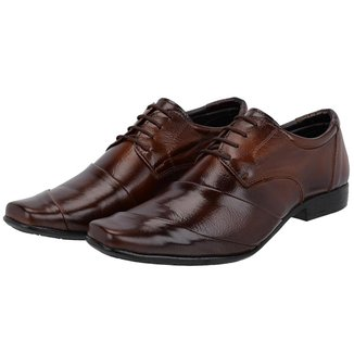 Sapato Social Couro Cadarço Leoppé Masculino