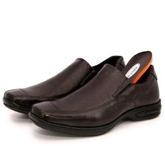 Sapato Social Couro Conforto Masculino Calce Fácil Solado de Borracha