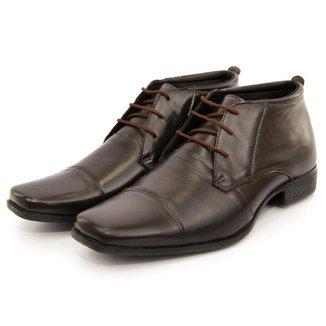 Sapato Social Couro Conforto Masculino Solado de Borracha Fechamento em Cadarço