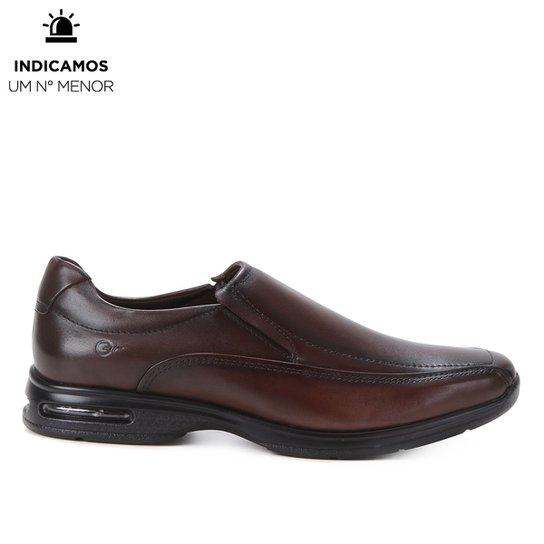 Sapato Social Couro Democrata Air Spot Masculino - Marrom Escuro