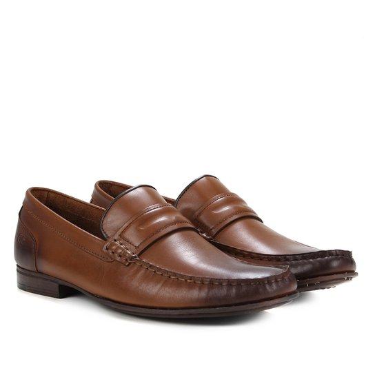 Sapato Social Couro Democrata Bico Fino Masculino - Caramelo