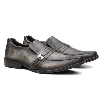 Sapato Social Couro Elástico Metal  Casual Masculino