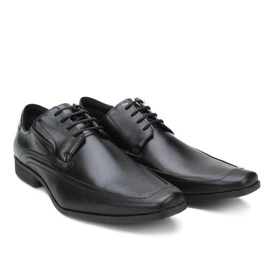 Sapato Social Couro Ferracini Liverpool Amarração Masculino - Preto