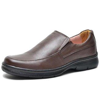 Sapato Social Couro Floater Conforto Elástico Marrom Masculino