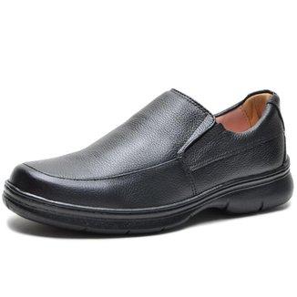 Sapato Social Couro Floater Conforto Elástico Preto Masculino