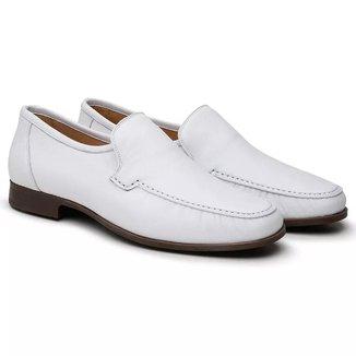 Sapato Social Couro Jacometti 066 Masculino Solado Flexível Macio Branco 37