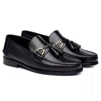 Sapato Social Couro Jacometti LF04 Masculino Sola Couro Elegante Preto 42