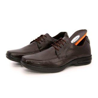 Sapato Social Couro Legítimo Confort Gel Fechamento Cadarço BR2 Footwear