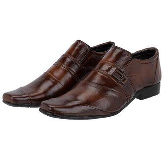 Sapato Social Couro Leoppé Costura Transversal Masculino