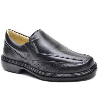 Sapato Social Couro Masculino Bico Redondo Leve Conforto