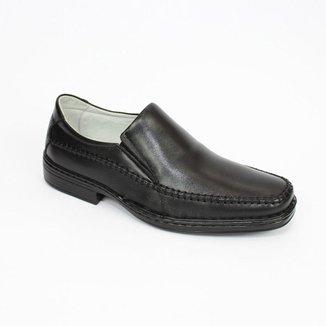 Sapato Social Couro Masculino Bico Redondo Macio Conforto