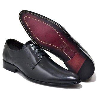 Sapato Social Couro Masculino Cadarço Conforto Liso Casual