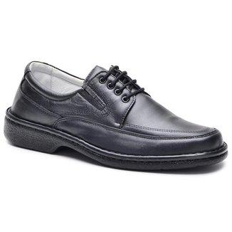 Sapato Social Couro Masculino Cadarço Dia a Dia Conforto