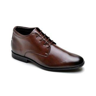 Sapato Social Couro Masculino Cadarço Liso Conforto Casual