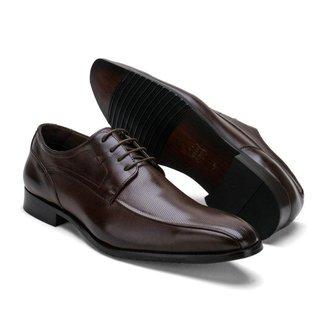 Sapato Social Couro Masculino Cadarço Perfuros Dia a Dia