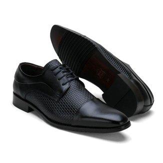 Sapato Social Couro Masculino Cadarço Tressê Conforto Casual