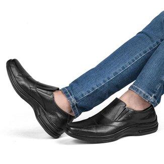 Sapato Social Couro Masculino Conforto Bico Quadrado Liso