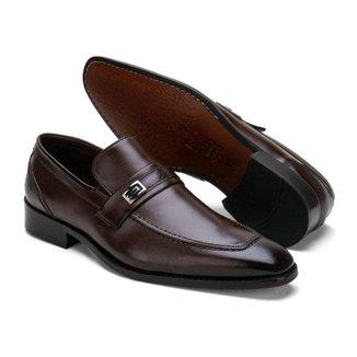 Sapato Social Couro Masculino Liso Bico Fino Conforto Casual