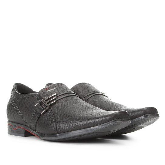 Sapato Social Couro Pegada Textura Masculino - Preto