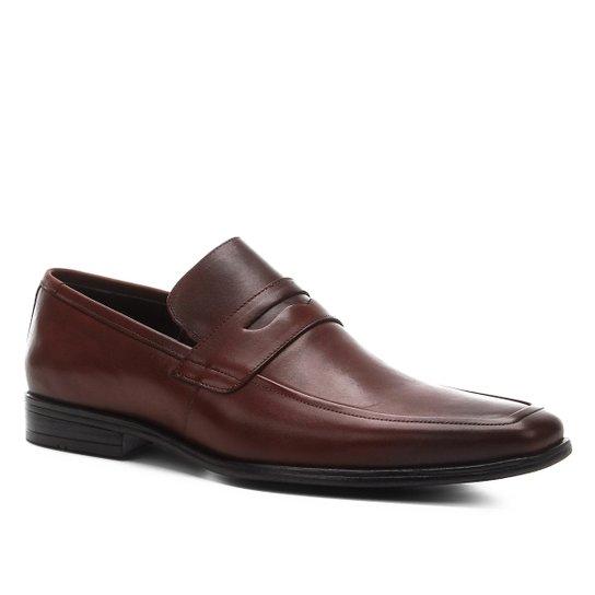 Sapato Social Couro Shoestock Bico Quadrado Masculino - Café