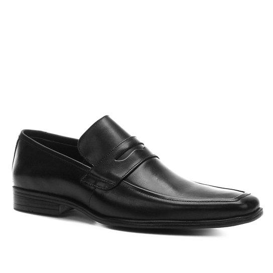 Sapato Social Couro Shoestock Bico Quadrado Masculino - Preto