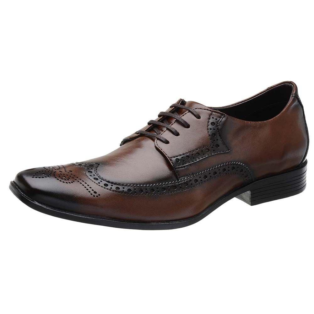 e0568e3fb920c Sapato Social Couro Stefanello Recortes Masculino - Marrom - Compre Agora |  Zattini