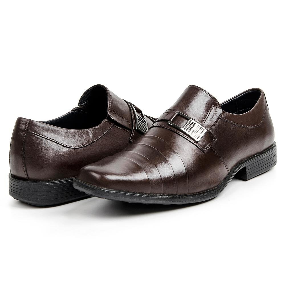 Sapato Sapato Store Couro Masculino Social Metal Detalhe Social Marrom rfxqrB