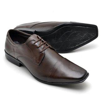 Sapato Social Couro Texturizado Reta Oposta Masculino