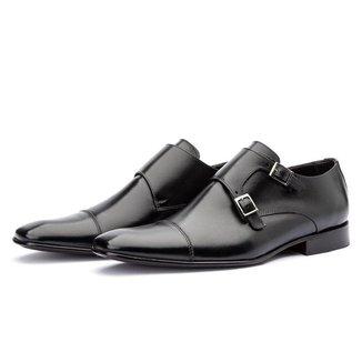 Sapato Social Couro Top Franca Shoes Monk Strap Solado Masculino
