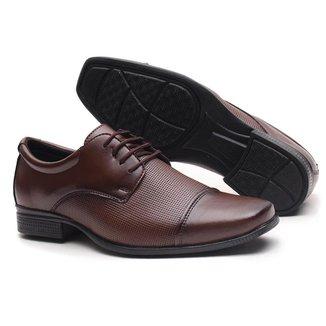 Sapato Social de Amarrar Miletto Texturizado - Capucino
